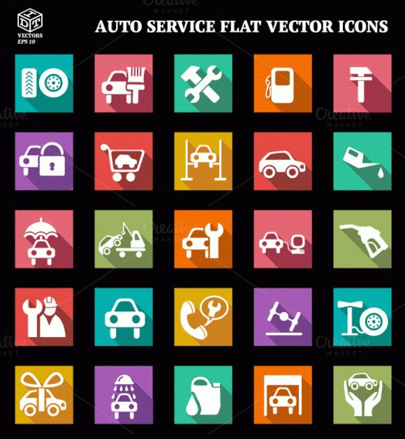 Check out Auto Service Flat Vector Icons by Idette Designs™ on Creative Market