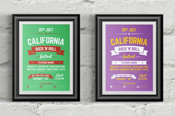 Music festival poster template by EDT.im on @creativemarket