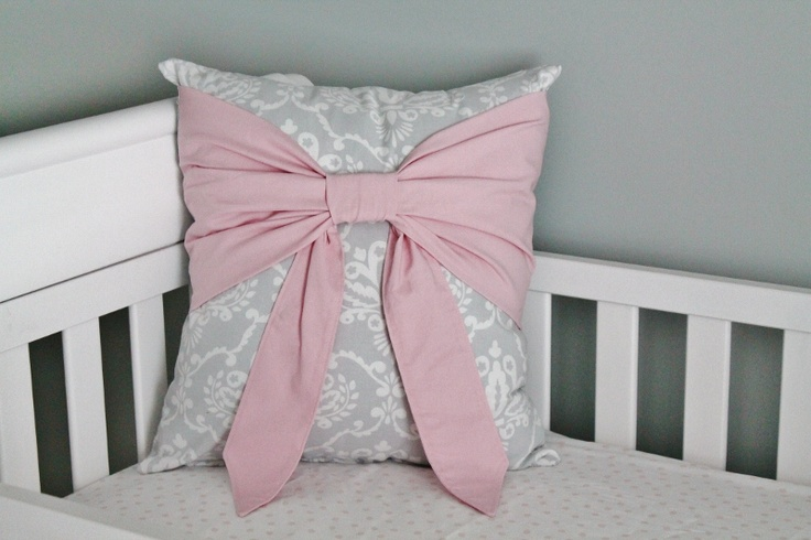 Pink & Grey Damask Nursery  Beautiful bow pillow...
