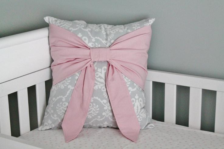 Pink & Grey Damask Nursery  Beautiful bow pillow...