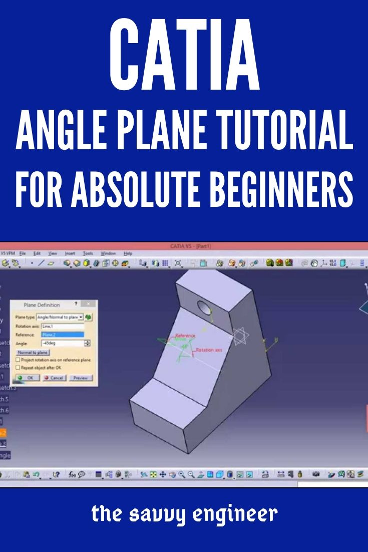 Catia Free Online Training For Beginners How To Create And Use The Angle Plane Defini Computer Aided Engineering Online Training Computer Aided Manufacturing