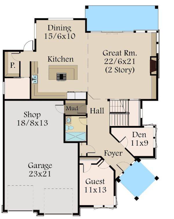 Plan 85123ms angled entry 5 bed modern house plan 2nd for Angled entry house plans