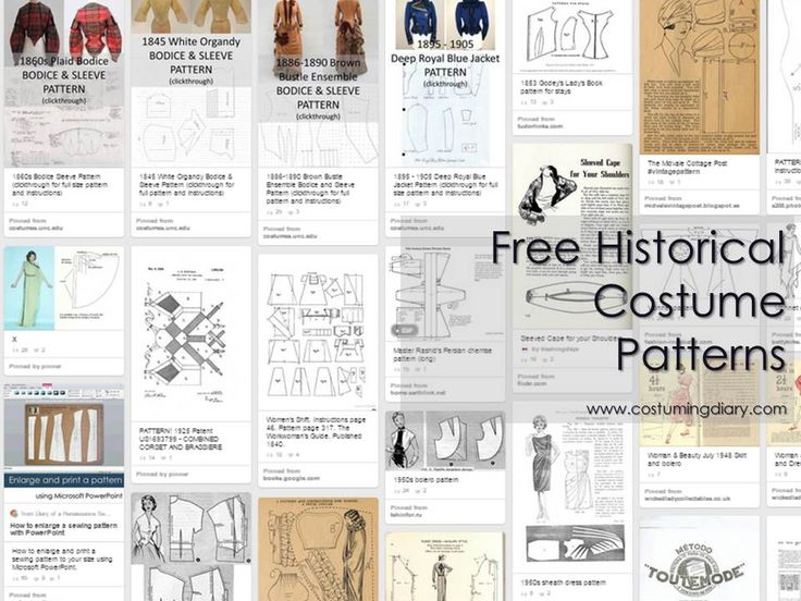 great list of free Historical Costume Patterns - gathered from costumingdiary.com