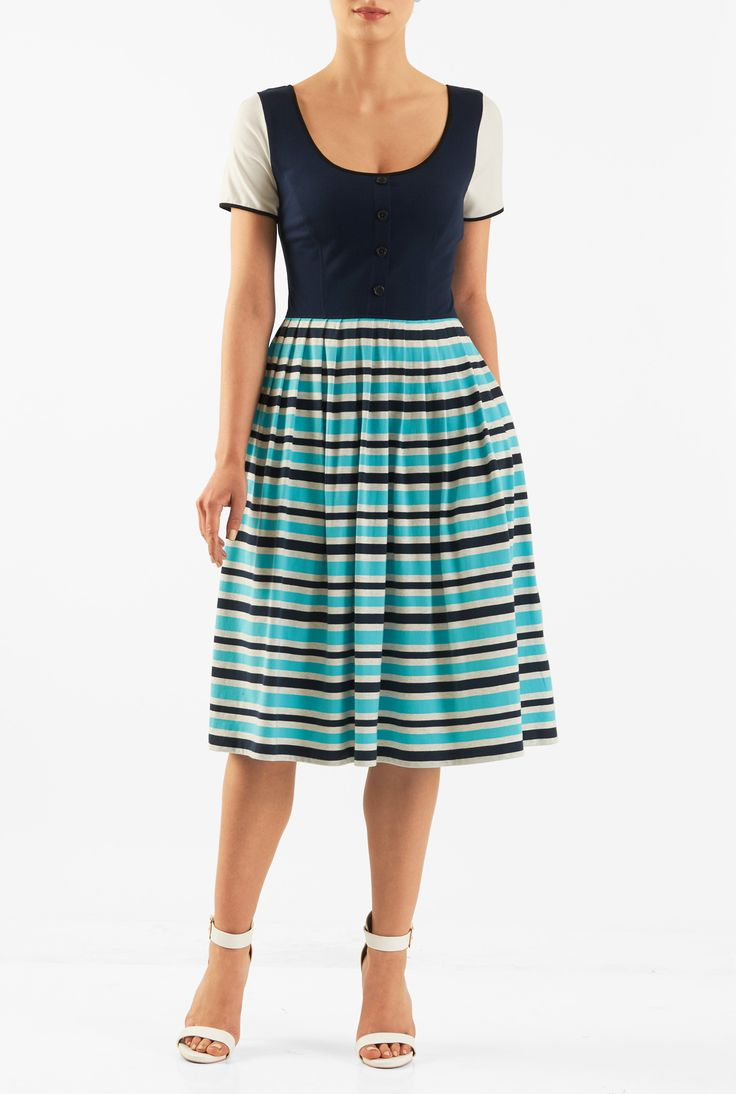 2017 05 fashion jersey dress - Our Colorblock Cotton Jersey Knit Dress Is Styled With A Contrast Solid Bodice And A
