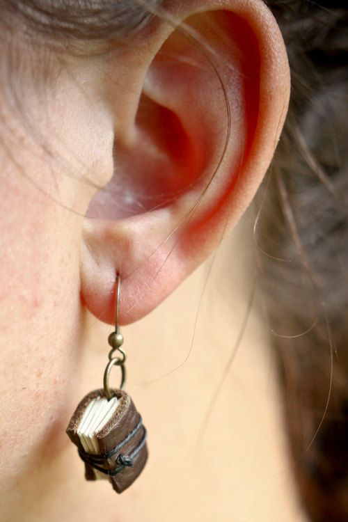 Mini Leather Journal Earrings - Handmade Brown Book Jewelr