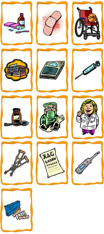 Content        medicine, bandage, wheelchair, hospital, scales, needle/shot/injection/syringe, cough syrup, doctor, nurse, crutches, ey...