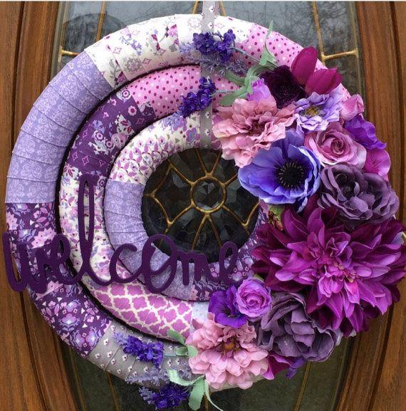 Spring Welcome Wreath Front Door Spring Wreath Purple Fabric