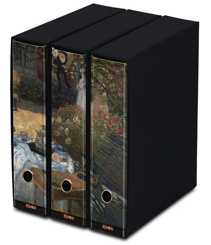 KAOS Lever Arch Files 2ring Binders with slipcase, Spine 8 cm, 3 pcs Set  -BREAKFAST, CLAUDE MONET - 3 pcs Set Dimensions: 26.8x35x29 cm