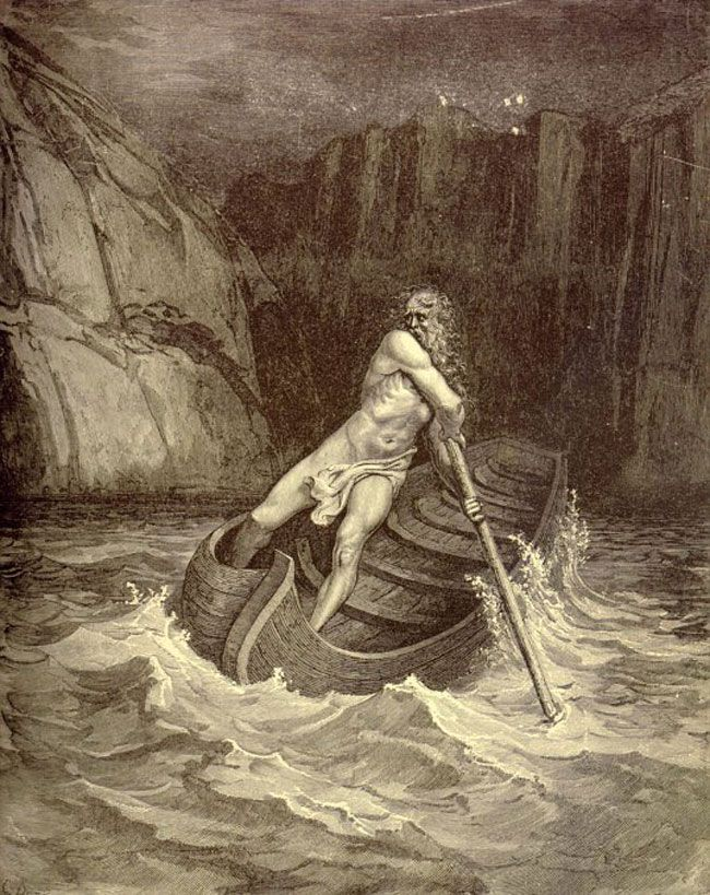 Charon, from La Divina Commedia by Dante Alighieri, illustrated by Gustave Doré. This is Charon, the ferryman of the underworld, who, despite sharing a job description with Davy Jones, is a completely different bloke. Same beard, though.
