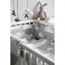 Grey cloud print cot bedding