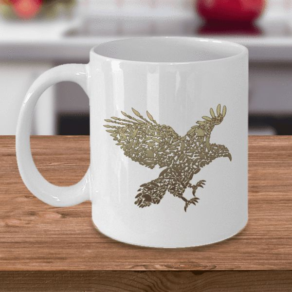 Golden Eagle, Fun Eagle Coffee Mug, Unique Design with Eagles, Eagle Heads and Eagle Feathers Mug, Eagle Mug Limited Time OnlyThis item is NOT available in stores.We create fun coffee mugs that are sure to please the recipient. Tired of boring gifts that don't last? Give a gift that will amuse them for years!A GIFT THE