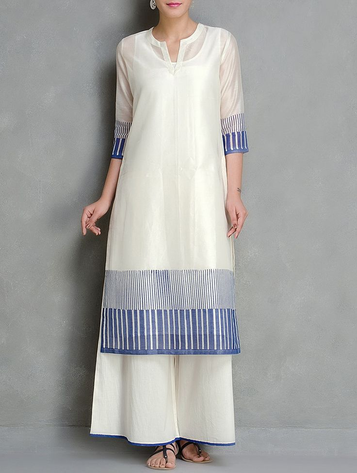 Buy Blue Ivory Block Printed Chanderi Kurta With Lining Set of 2 by Kora Women Kurtas Anubhuti Hand Cambric Apparel Kantha & Pintuck Details Online at Jaypore.com