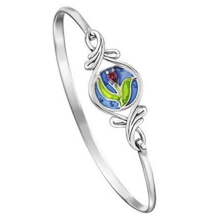 Sterling silver Kameleon bangle with flourish and removable JewelPop - Bangle $99, JewelPop $34 #PoagWishList