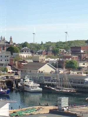 View of The Gloucester House, Schooner Thomas Lannon, Windmills, Whale Watch and Gloucester City Hall. A lot going on in this photo!