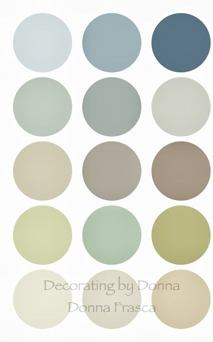 This is a very well rounded coastal color palette. Can you see this in your home? Keep the lighter colors for your foyer, darker colors for accents or dining room, restful greens for the bedroom and those spa blues for your bathroom. Sound easy? If not, I'd be glad to help you with my virtual color consultation process. You can see that process here on my website: http://decoratingbydonna.com/virtual-consultations…