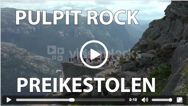 Pulpit Rock, or Preikestolen, watched from a distance. Every year thousands of people travel up the steep and rocky hills to the Pulpit Rock to see the stunning views over the mountains and Lysefjord in Rogaland.