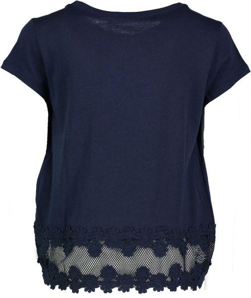 Donkerblauw T-Shirt met Kanten Boord Liu Jo Commun