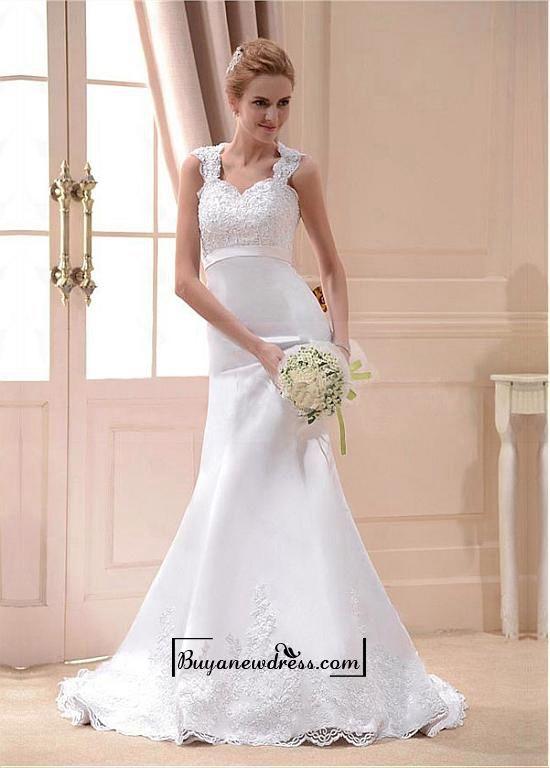 Alluring Satin Mermaid Sweetheart Neckline Raised Waistline Wedding Dress