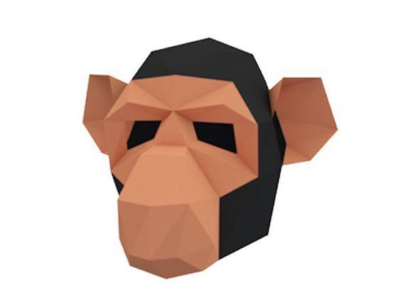 Make your own Monkey Mask, Animal Head, Instant Pdf download, DIY Halloween Paper Mask, Printable Chimpanzee Mask, 3D Pattern, Polygon Masks