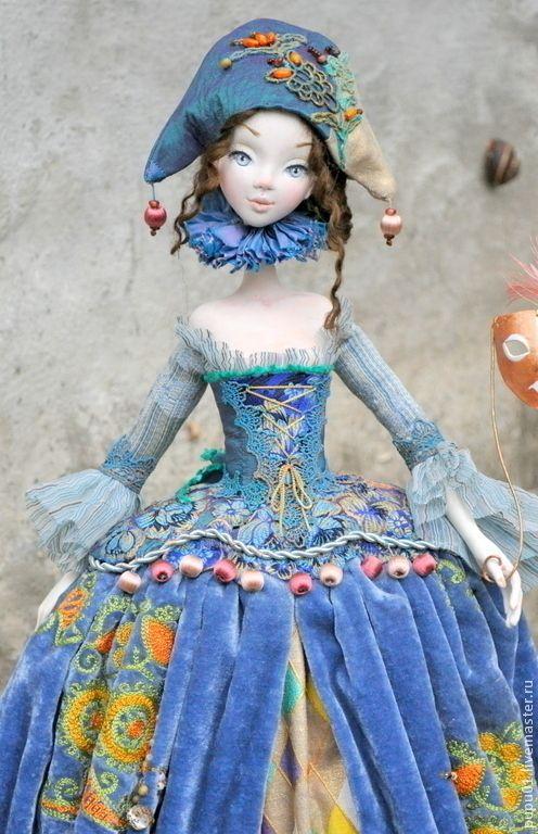 Купить Коломбина в голубом - голубой, коломбина, коллекционная кукла, авторская кукла, авторская ручная работа