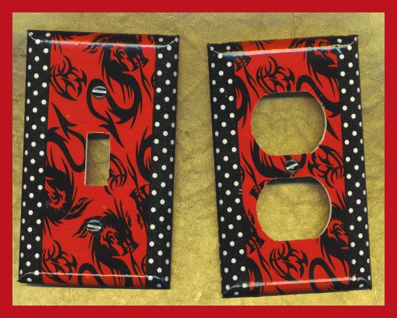 Black DRAGONS Light Single Toggle Switch Plate by TheMaineCoonCat, $4.50