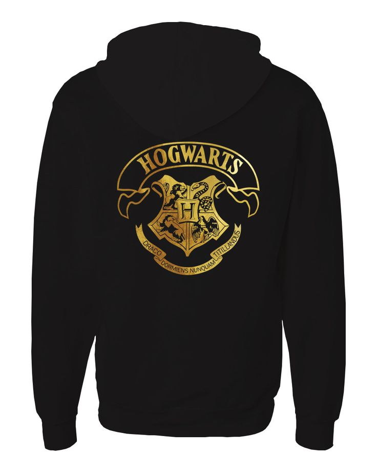 Harry potter Inspired Zip Up Hogwarts Unisex Adult Hoodie with gold emblem in front and back. by iganiDesign on Etsy