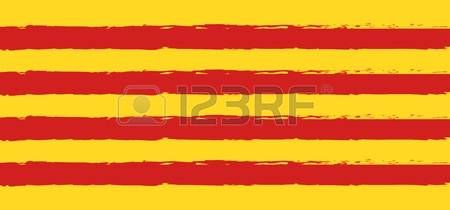 Brush strock painted grunge texture pattern Catalonia national flag red and yellow color Independenc Stock Vector