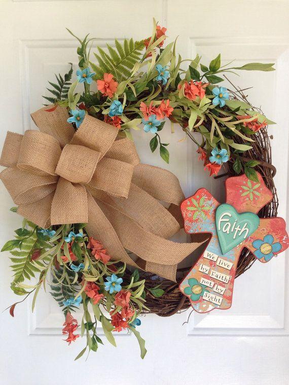 Cross wreath Summer wreath Grapevine wreath by KarensCustomWreaths
