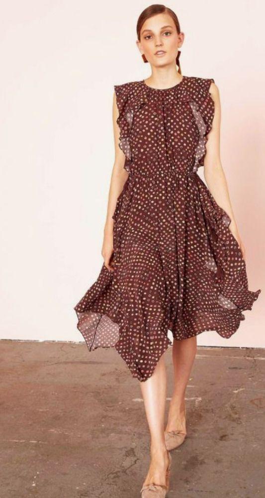 cb3faff983 New Ulla Johnson Women s Dress Gold 8 L Silk Dorothea Polka Dot Midi Print   fashion