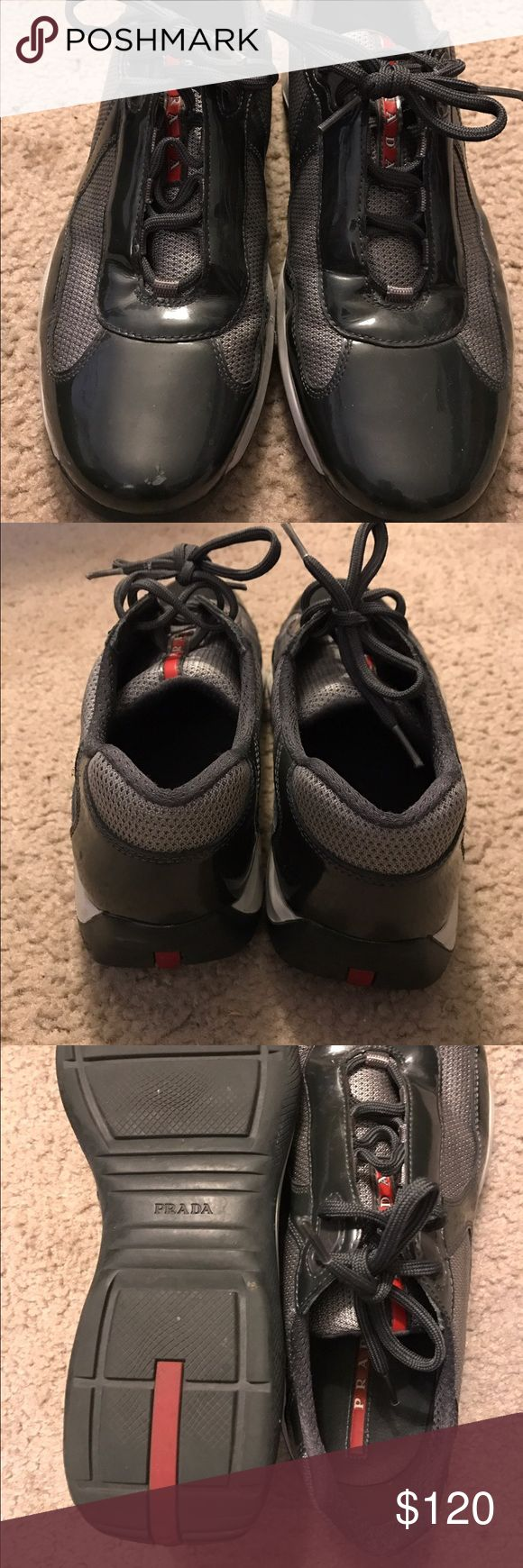 Men's Prada Sneakers sz 9 In amazing shape at a price you cannot beat! Very fashionable Prada sneakers for men! Quick shipping for the holiday! Prada Shoes Sneakers