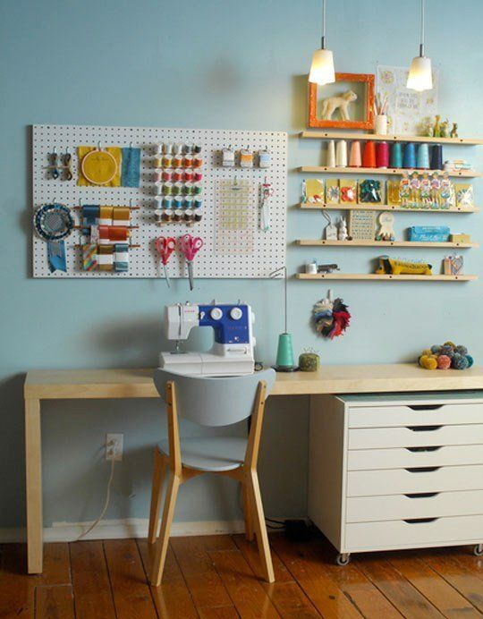A Rainbow Bright Sewing Station — Roommarks  I keep seeing the rolling drawer cart and like it.