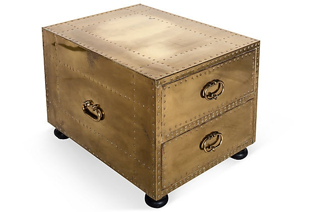 Brass End Table: Chest Drawers Trunks, Side Tables, Furniture Crushes, Brass Irons, End Tables, California Coastal, Tables Chest, Campaigns Chest, Kelly Wearstler Furniture
