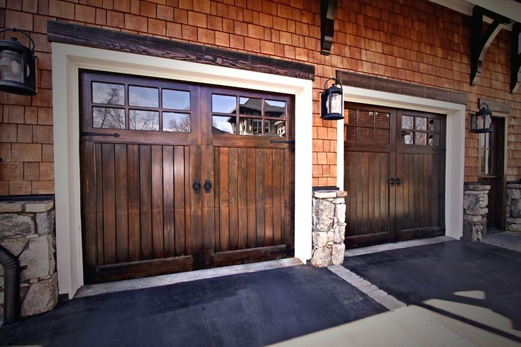 building on top of a garage | Wood Carriage Doors with Square Top Design