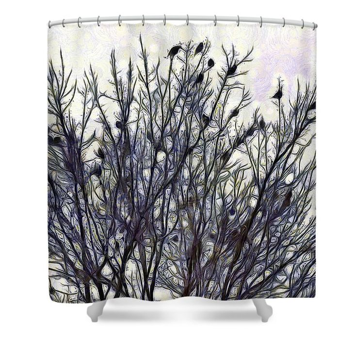 "An Ear Full Of Waxwing Shower Curtain by Leslie Montgomery.  This shower curtain is made from 100% polyester fabric and includes 12 holes at the top of the curtain for simple hanging.  The total dimensions of the shower curtain are 71"" wide x 74"" tall."