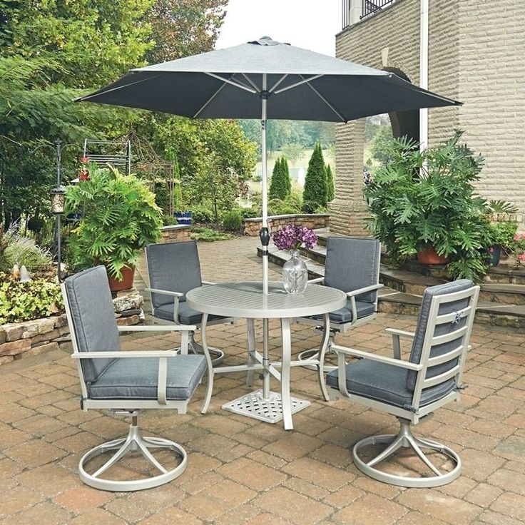 South Beach 7 Pc. Round Outdoor Dining Table& 4 Swivel Rocking Chairs, with Umbrella & Base by Home Styles