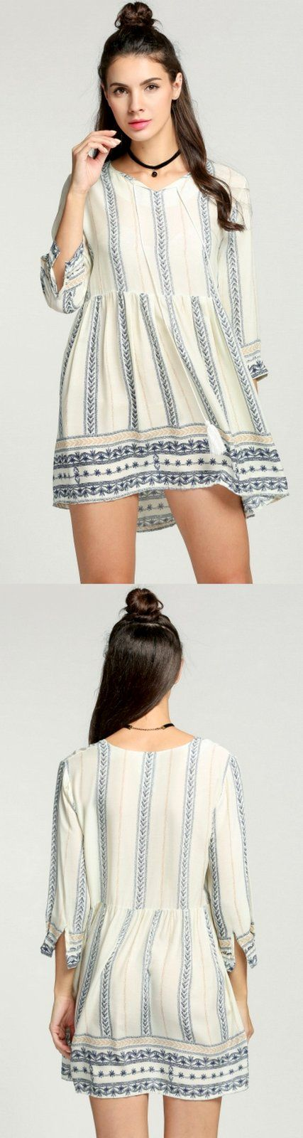Product Description: Summer Casual Women O-Neck 3/4 Sleeve Print Beach Smock Dress. Material: Cotton Blend, Color: Beige, Design: Smock Dress, Season: Summer, Autumn, Collar: O-Neck, Sleeve: 3/4 Sleev