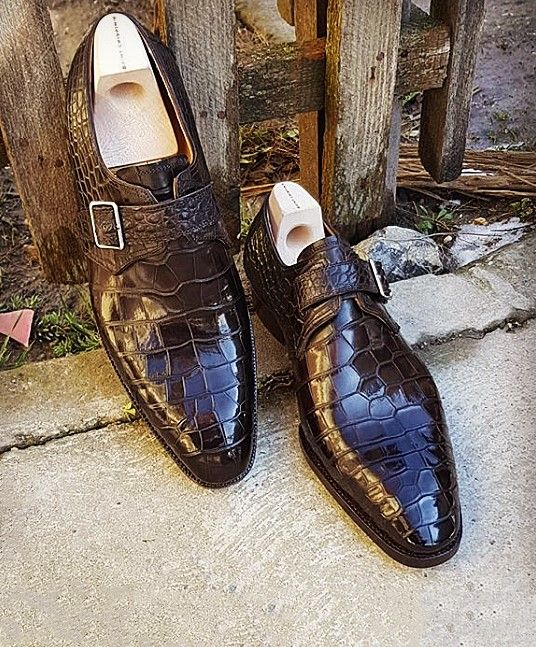 5d426f25184a Formal Business Comfortable Alligator Skin Single Monk Strap Shoes ...