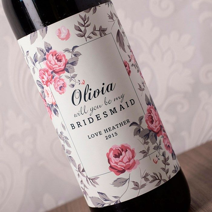 Personalised Wine - Floral Print Will You Be My Bridesmaid | GettingPersonal.co.uk