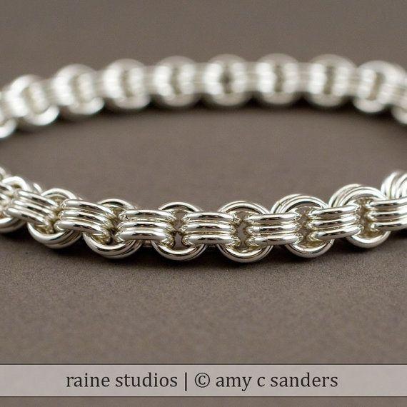 Pulsera de cadena gruesa Varonil - pulsera de Chainmaille de plata de 3 en 3