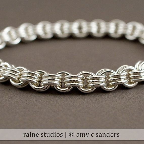 Dicke Männer Kette Armband - 3 in 3 Silberarmband Chainmaille