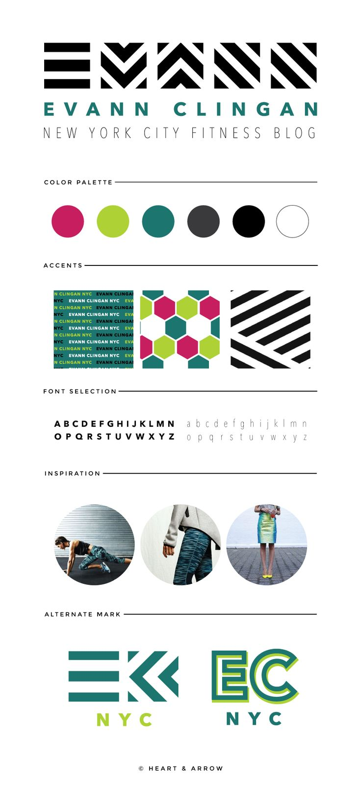 Cassandra cappello graphic design toronto - Brand Board For Evann Clingan New York City Fitness Blog Logo Desinggraphic Design