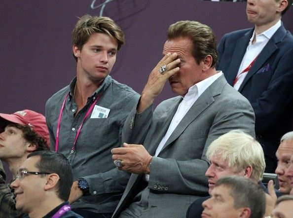 Patrick Schwarzenegger Photos - Actor Arnold Schwarzenegger and his son Patrick Schwarzenegger seen watching the USA vs Spain Men's Basketball Olympic Finals during the London 2012 Summer Olympics Games. - Celebs at the Closing Ceremony