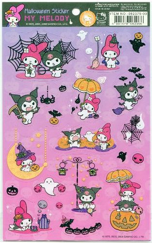 "Kuromi is the most Black Metal of all Sanrio characters :) ""Sanrio My Melody and Kuromi Halloween Sticker Sheet #1 