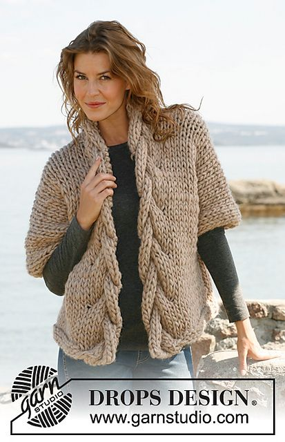 Ravelry: 133-36 Sophisticated Twist - Wide jacket with cables in Polaris pattern by DROPS design
