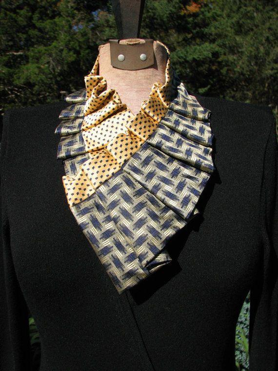 Pleated Silk Ascot  Silk Necktie Collar  Silk Necktie by TieTandem