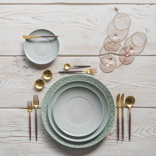 RENT: Goa Flatware in Brushed 24k Gold/Wood + Bella 24k Gold Rimmed Stemware in Blush + 14k Gold Salt Cellars + Tiny Gold Spoons SHOP: Rua Nova Chargers in Morning Blue + Venezia Dinnerware + Goa Flatware in Brushed 24k Gold/Wood + Bella 24k Gold Rimmed Stemware in Blush + 14k Gold Salt Cellars + Tiny Gold Spoons