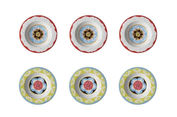 #Ebay #Soup #Plates #Set #Mixed #Colours #Mediterranean #Style #6Pcs #Dishwasher #Microwave #Safe