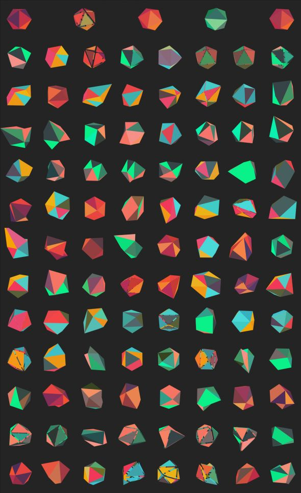 #Generative Mass Customized Branding for IMPROVED by Dimitrie Andrei Stefanescu (processing.js). The shape of the logo is based on a icosahedron with moving vertexes; colors from 3 palettes are random.