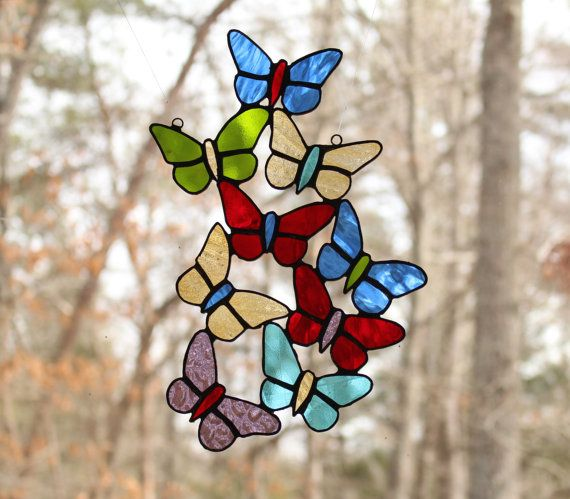 Stained Glass Butterfly sun catcher by ForgingAheadMetal on Etsy