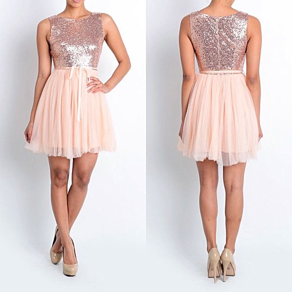 Rose Gold Prom Silvers: Affordable Short Sequin Rose Gold Bridesmaid Dress Tulle